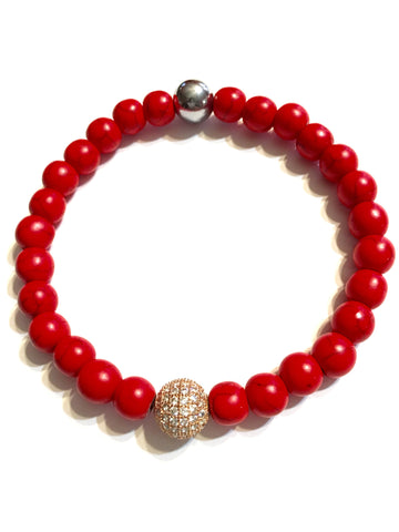 Men's Red Turquoise W/ Gold Bead Gemstone Bracelet