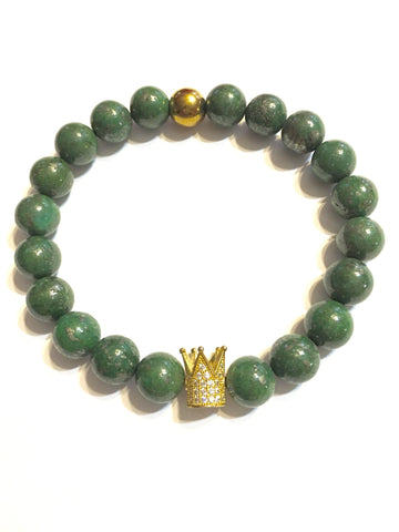 Men's Emerald W/ Gold Crown Pyrite Gemstone Bracelet