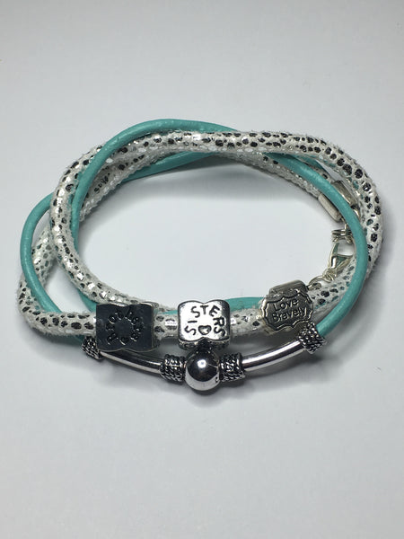 Brothers & Sisters Love Bravely Double Twisted Leather Bracelet