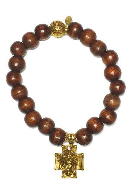 Natural Wood Cross Bracelet
