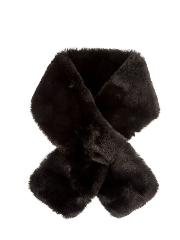 Faux fur pull through collar