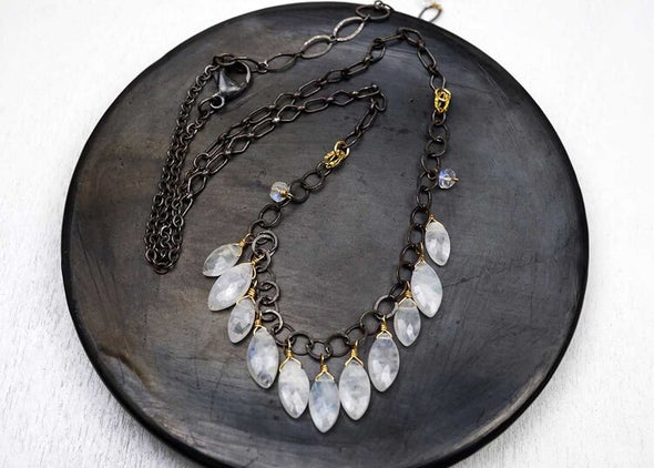 Marquis cut moonstone necklace