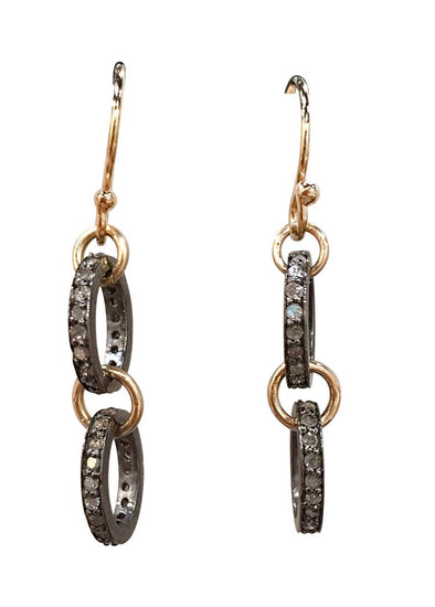 Oxidized double circle diamond earrings