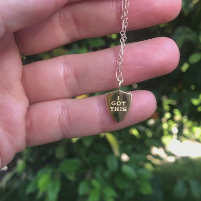 'I got this' enamel necklace