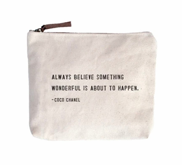 Canvas zipper bags with quotes