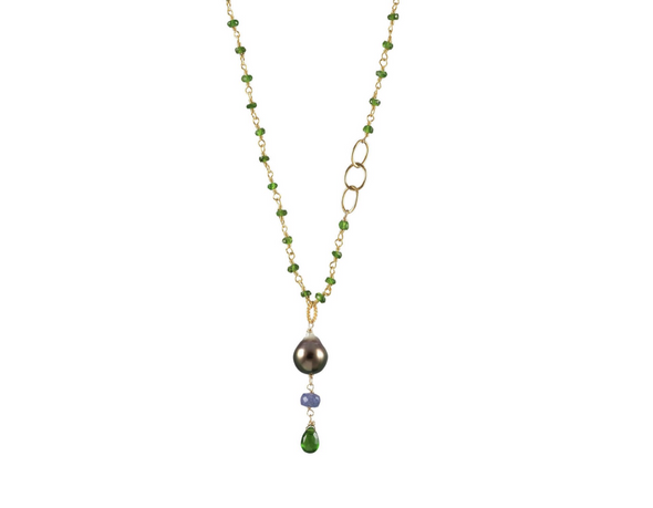 Green garnet and pearl necklace