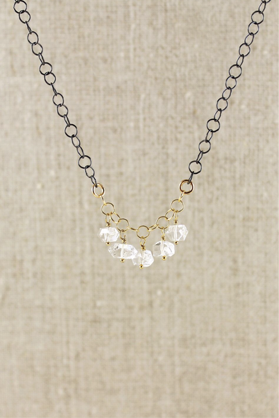 Herkimer diamond necklace with mixed metals