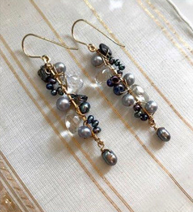 Pearl and quartz vine earrings