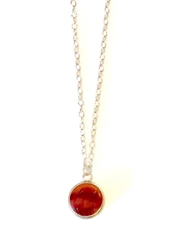 Leilani Jensen honey and red glass necklace