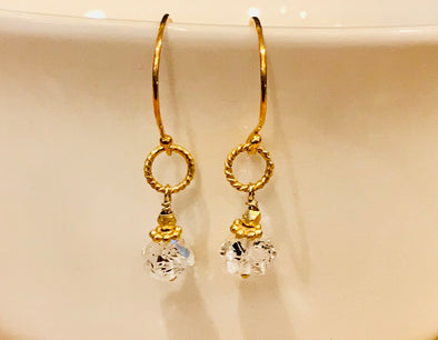 Herkimer diamond and gold vermeil earrings