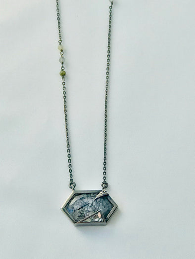 Diamond and rutilated quartz Shan necklace