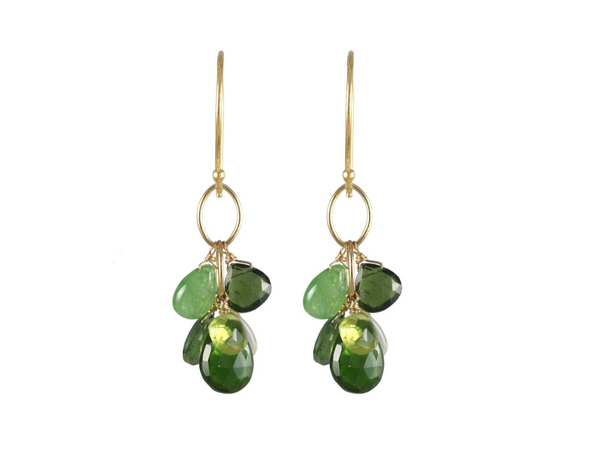 Green garnet mixed stone drop cluster earrings