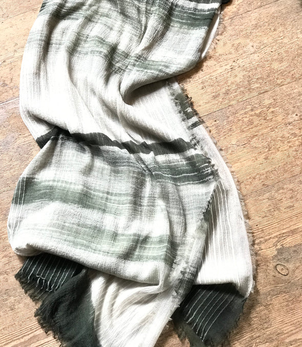 Hand painted merino wool striped scarves