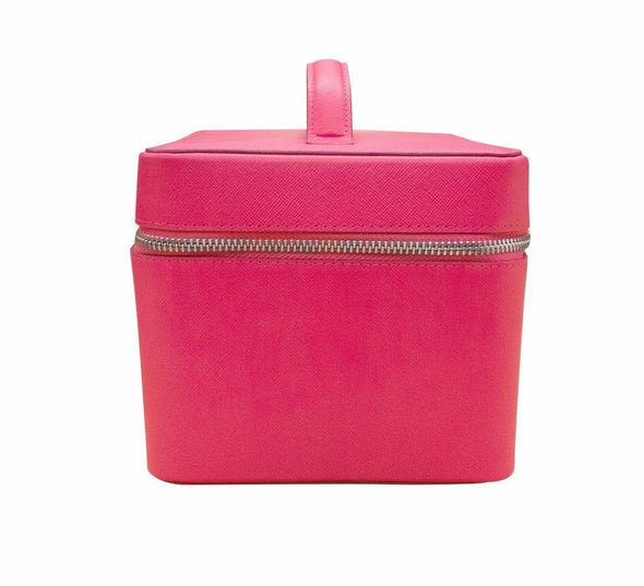 Hot pink leather train case.