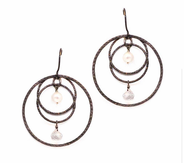 Oxidized sterling mobile hoops