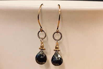 Pyrite and gold vermeil earrings