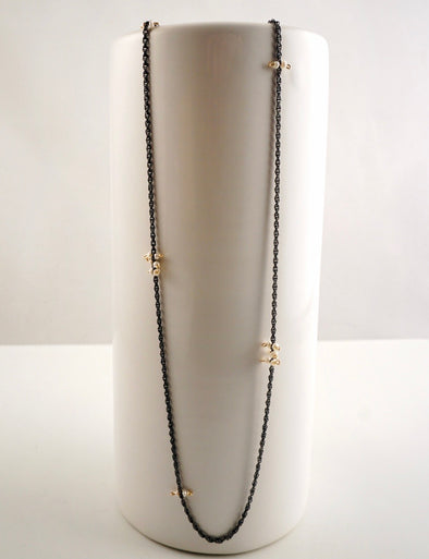 delicate oxidized sterling and pearl necklace