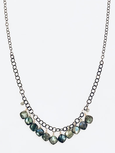 Eleven drop Labradorite necklace