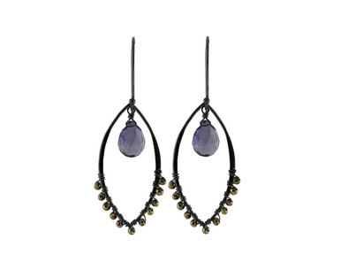 Large marquis link grey moonstone earrings