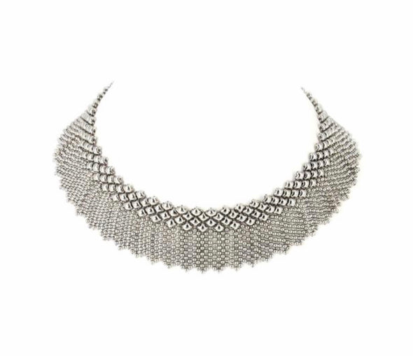 Liquid metal fringe necklace