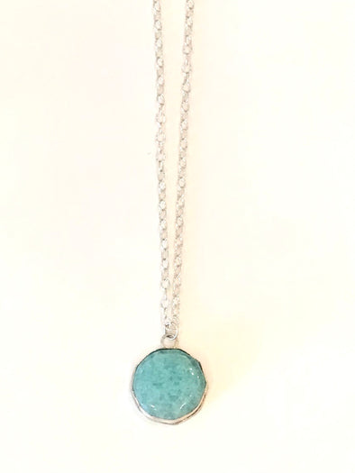 Leilani Jensen Robins egg blue glass necklace