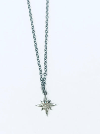 Diamond pave starburst necklace