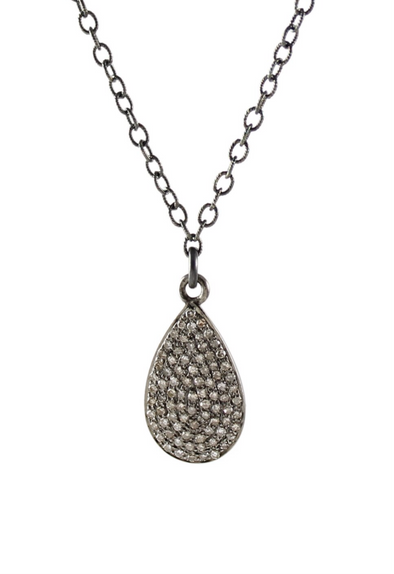 Diamond pave teardrop necklace