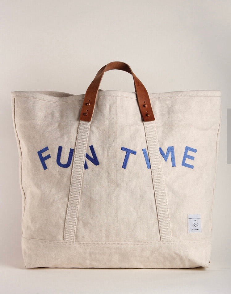 """Fun Time"" leather trimmed canvas tote"