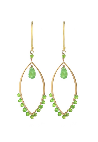 Large marquis link green garnet earrings