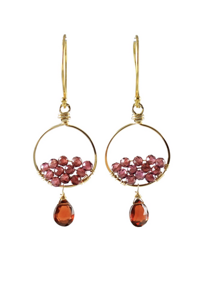 Small gold garnet hoop earrings