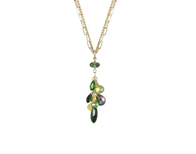 Mixed stone green garnet cluster necklace