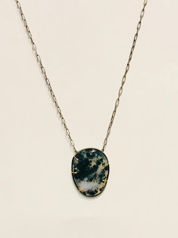large moss agate pendant necklace