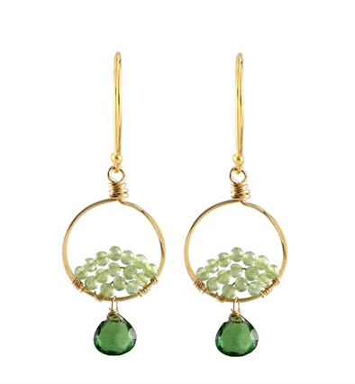 Small gold green apatite hoops earrings