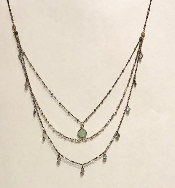 3 tier multi stone necklace