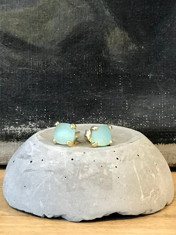 Square cut stone earrings