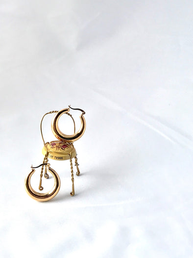 Puffed gold hoop earrings