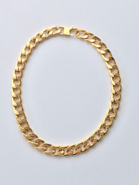 Heavy gold link chain necklace