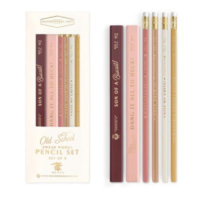 Vintage swear words pencil set