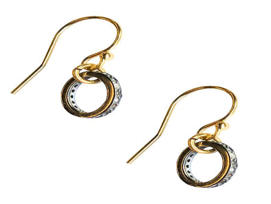 Oxidized sterling and diamond circle earrings