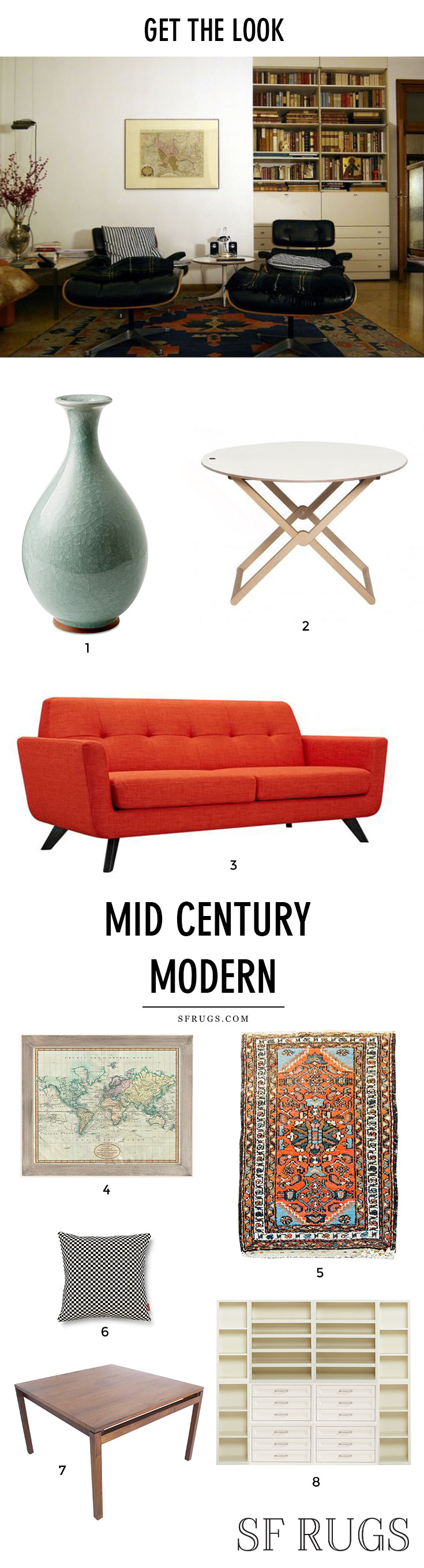 Need mid century modern living room inspiration? Get the look of this mid century modern living room with a few key pieces including a mid century eclectic vintage rug. Mid century modern decor, mid century modern house, mid century modern living room, mid century modern DIY, mid century modern furniture,  mid century modern design, mid century modern chair, mid century modern interiors, mid century modern rug @sfrugs sfrugs.com