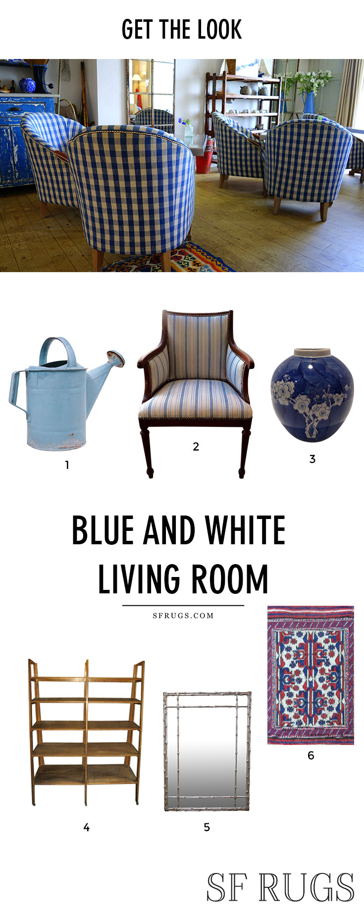 Blue and white living room, blue and white rug, blue and white decorating, blue and white pattern @sfrugsonline