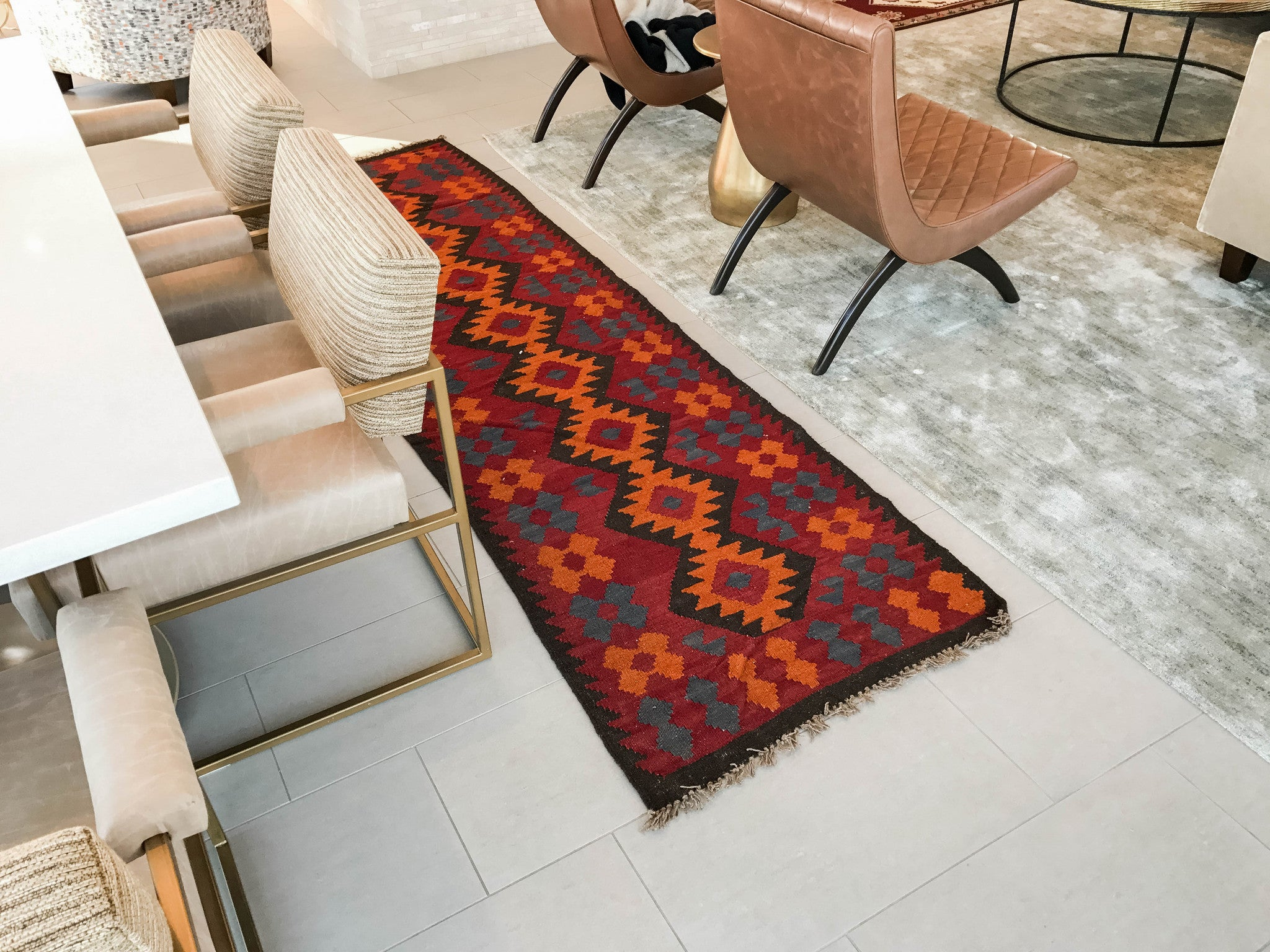 vintage runner rug in kitchen