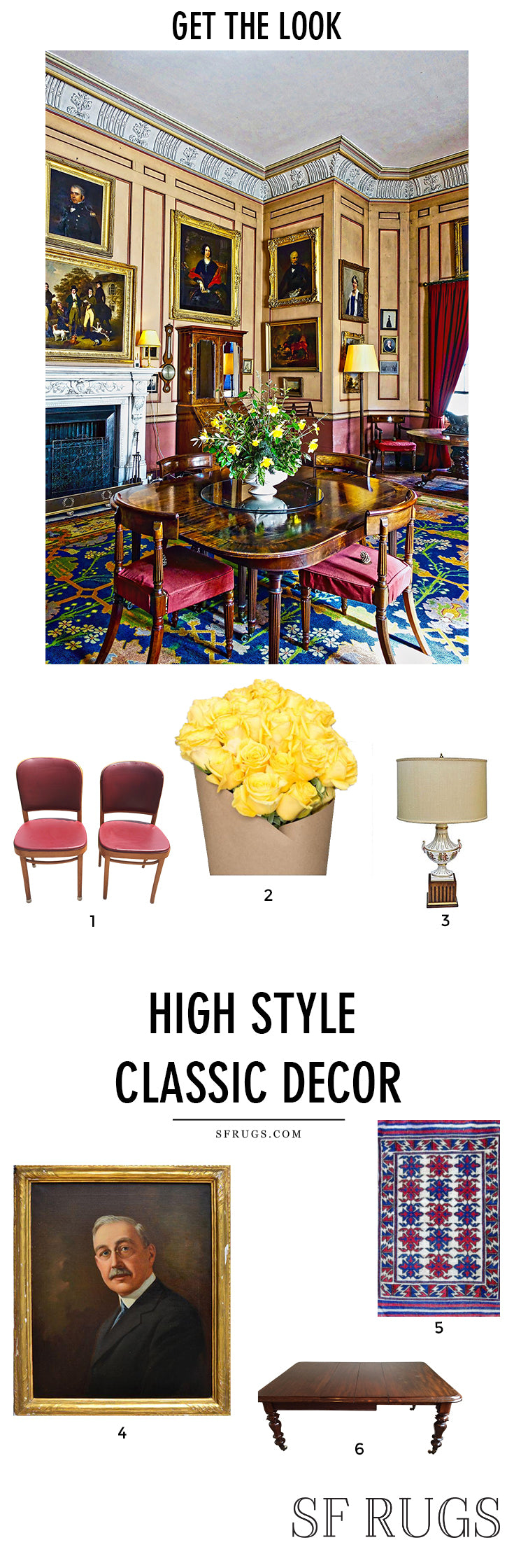 Get the look with vintage decor, vintage rugs, high style classic traditional home decor Traditional home decor, classic home decor, luxury home decor, luxury interior, luxury interior design, luxury living room, luxury furniture @sfrugs sfrugs.com