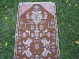 Turkish Rug 1x3 Purple Wool Pile Small Vintage Rug Hand Knotted Semi Antique Area Rug - PLAE0103