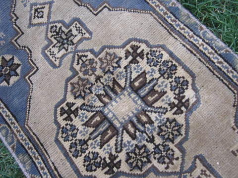 Turkish Rug 1x3 Blue Wool Pile Small Vintage Rug Hand Knotted Semi Antique Area Rug - AVIS0103