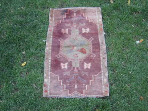 Turkish Rug 1x2 Purple Wool Pile Small Vintage Rug Hand Knotted Semi Antique Area Rug -SYRA0102