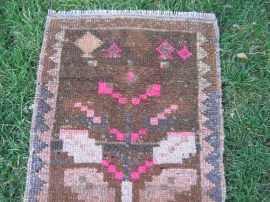 Turkish Rug 1x2 Brown Wool Pile Small Vintage Rug Hand Knotted Semi Antique Area Rug - CALI0102