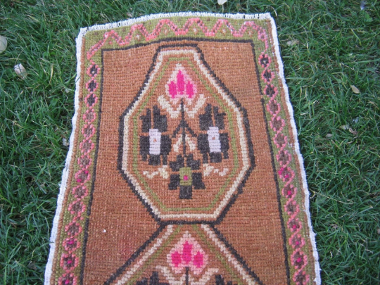 Turkish Rug 1x3 Brown Wool Pile Small Vintage Rug Hand Knotted Semi Antique Area Rug - DANA0103