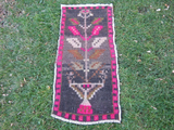 Turkish Rug 1x3 Black Wool Pile Small Vintage Rug Hand Knotted Semi Antique Area Rug - DEWI0103