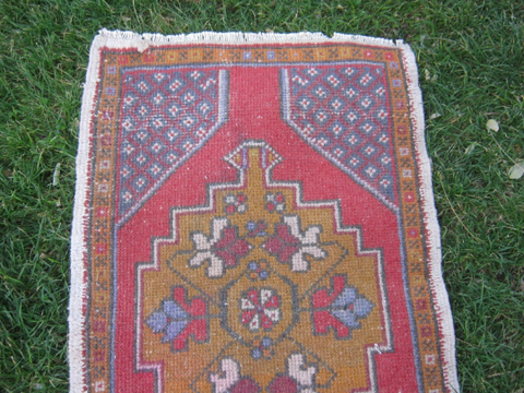 Turkish Rug 1x3 Magenta Wool Pile Small Vintage Rug Hand Knotted Semi Antique Area Rug - ECHO0103